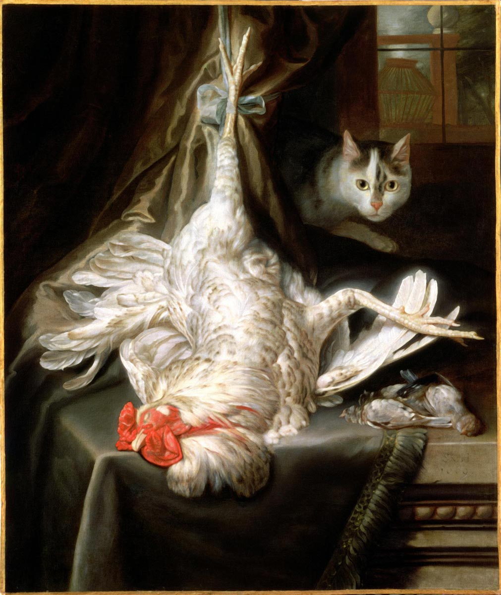 Samuel van Hoogstraten, Still life with a hanging cockerel and a prowling cat, 1669.